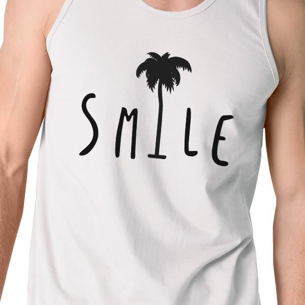 bec2dbe5508 Smile Palm Tree Mens White Sleeveless Shirt Summer Cotton Tank Top-Apparel    Accessories-