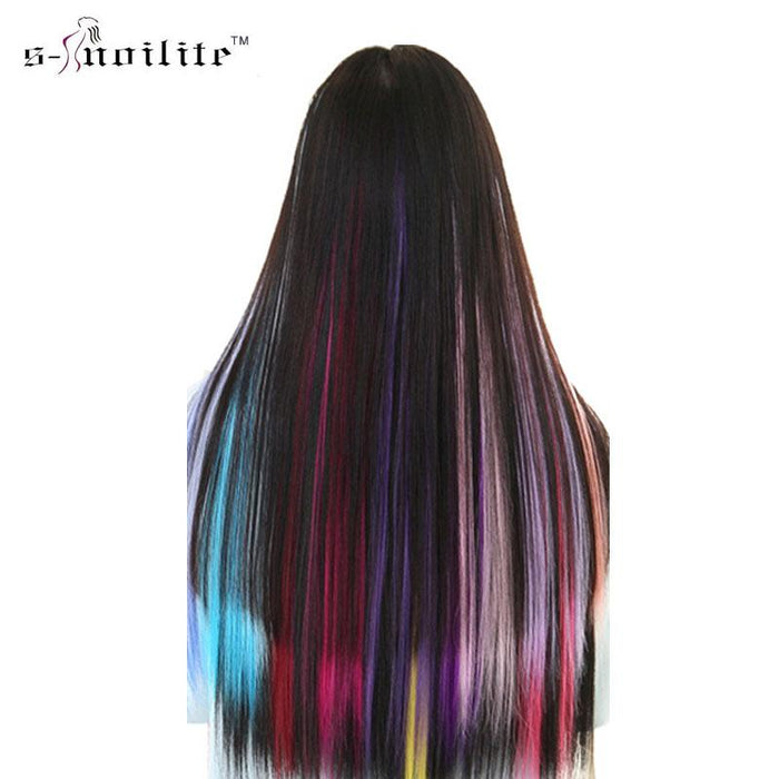 Snoilite 1Pcs Long Straight Women Synthetic Cosplay Clip In Hair Extensions  Rainbow Colors Hairpiece-Something e062b09b0