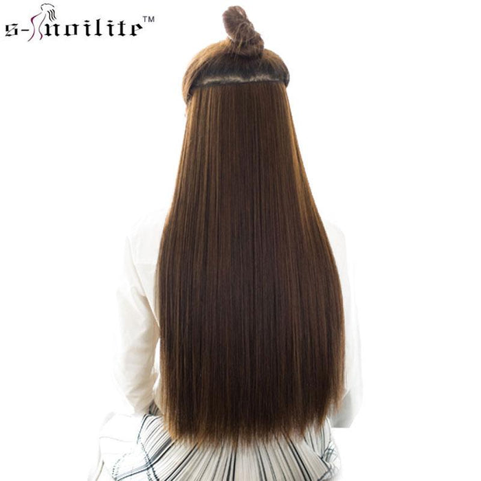 Snoilite 23Inch 26Inch 30Inch Synthetic Half Full Head Women Long Straight  Clip In Hair Extensions- 1da263b8c