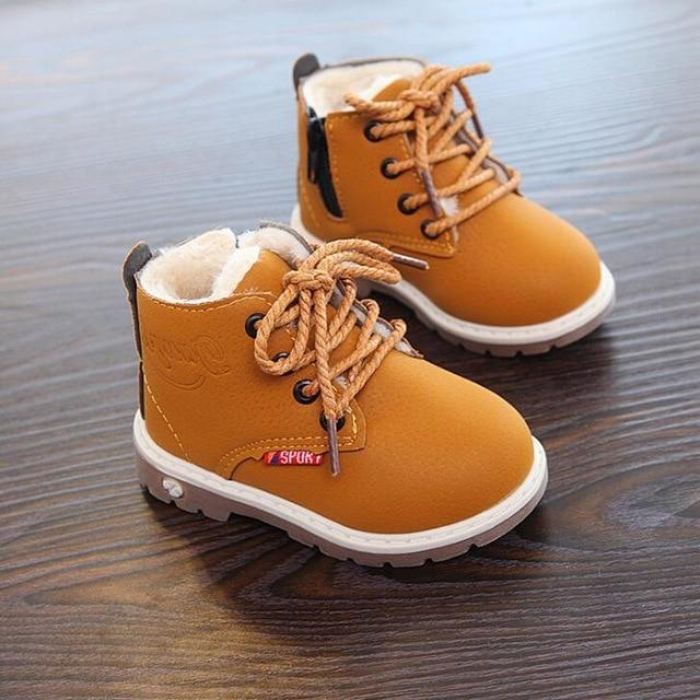 Snow Boots Childrens Winte/Autumn Ankle Boy/Girl Boots Unisex Pu Leather Shoes For Kids Snow Shoes-Boots-Baby Shoe World Store-picture color [193]-5.5-EpicWorldStore.com