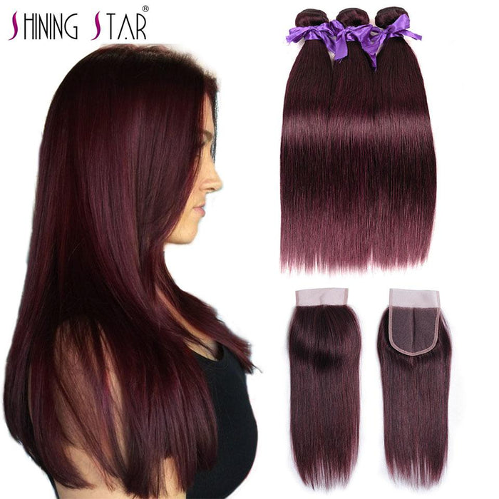 Soft Red Burgundy Brazilian Hair Weave 3 Bundles With Closure