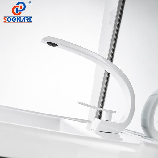 Sognare Basin Faucet For Bathroom Sink Faucet White Basin Mixer Water Tap Deck Mount Waterfall-Basin Faucets-SOGNARE Official Store-White-EpicWorldStore.com