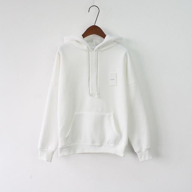 Solid Hooded Hoodies For Women Hot Sale Korean Pocket Casual Fitness Pullovers Leisure-Hoodies & Sweatshirts-RoseMerry *-White-EpicWorldStore.com