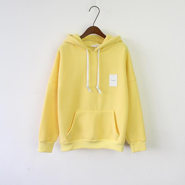Solid Hooded Hoodies For Women Hot Sale Korean Pocket Casual Fitness Pullovers Leisure-Hoodies & Sweatshirts-RoseMerry *-Yellow-EpicWorldStore.com