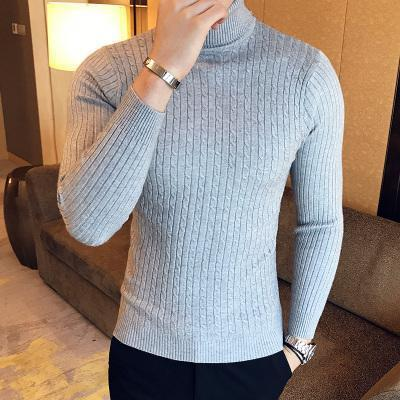 Solid Sweaters Men High Turtleneck Mens Sweaters Pullover Autumn Winter Knitwear Knitted-Sweaters-king-world international trade co.,LTD-grey-M-EpicWorldStore.com