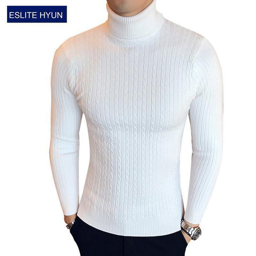 Solid Sweaters Men High Turtleneck Mens Sweaters Pullover Autumn Winter Knitwear Knitted-Sweaters-king-world international trade co.,LTD-white-M-EpicWorldStore.com