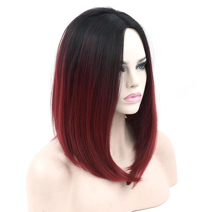 Soowee 11 Colors Black To Pink Ombre Hair Straight Bob Wigs Synthetic Hair Short Party Hair