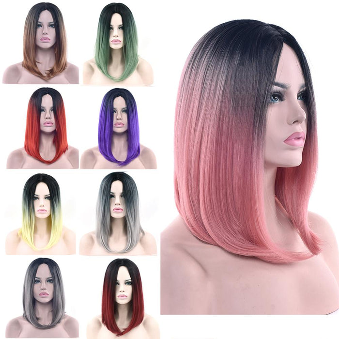 Soowee 11 Colors Black To Pink Ombre Hair Straight Bob Wigs