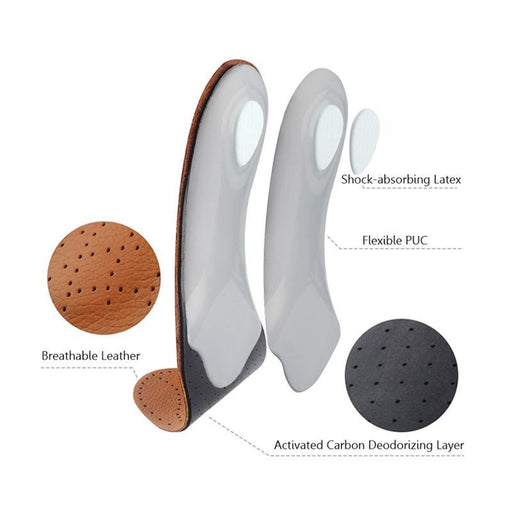 Soumit Leather Orthopedic Insoles With Massage High Arch Supports For Flat Foot Inserts Orthotic-Shoe Accessories-Soumit Official Store-EU 35 to 36-EpicWorldStore.com