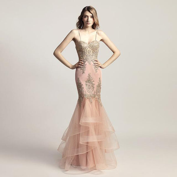 Spaghetti Strap Blush Mermaid Celebrity Dresses With Golden Crystal ...