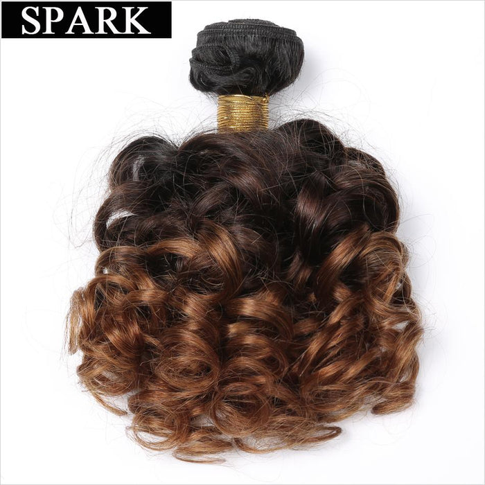 Spark Bouncy Curly Hair 3 Tone Ombre Brazilian Hair Weave Bundles 12