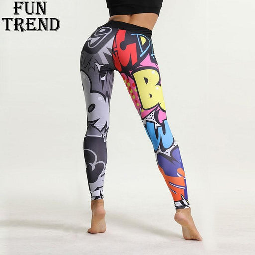 Sport Leggings Women Fitness Yoga Pants Cartoon Print Sport Pants Yoga Leggings Breathable Gym-FUN TREND Store-S-EpicWorldStore.com