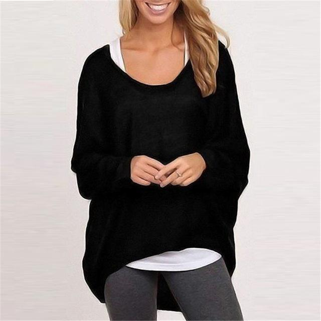 Spring Autumn Women Blouse New Batwing Long Sleeve Casual Loose Solid Color Shirt-Blouses & Shirts-Romeo & Juliet Clothes Store-Black-S-EpicWorldStore.com