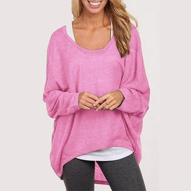 Spring Autumn Women Blouse New Batwing Long Sleeve Casual Loose Solid Color Shirt-Blouses & Shirts-Romeo & Juliet Clothes Store-Pink-S-EpicWorldStore.com