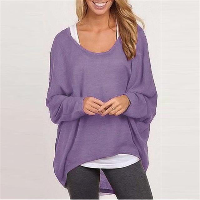 Spring Autumn Women Blouse New Batwing Long Sleeve Casual Loose Solid Color Shirt-Blouses & Shirts-Romeo & Juliet Clothes Store-Purple-S-EpicWorldStore.com