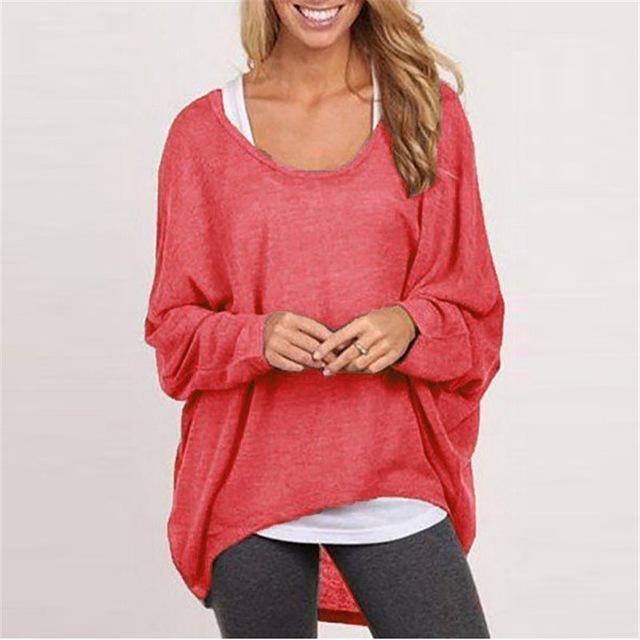 Spring Autumn Women Blouse New Batwing Long Sleeve Casual Loose Solid Color Shirt-Blouses & Shirts-Romeo & Juliet Clothes Store-Red-S-EpicWorldStore.com