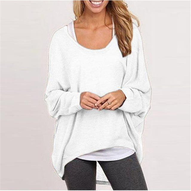 Spring Autumn Women Blouse New Batwing Long Sleeve Casual Loose Solid Color Shirt-Blouses & Shirts-Romeo & Juliet Clothes Store-White-S-EpicWorldStore.com
