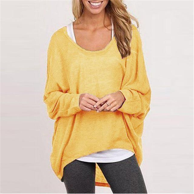 Spring Autumn Women Blouse New Batwing Long Sleeve Casual Loose Solid Color Shirt-Blouses & Shirts-Romeo & Juliet Clothes Store-Yellow-S-EpicWorldStore.com