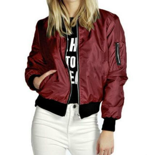 Spring Autumn Women Thin Jackets Basic Bomber Jacket Long Sleeve Coat Casual Stand Collar-Jackets & Coats-Sun Shine-wine red-S-EpicWorldStore.com
