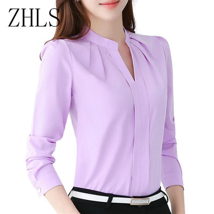 Spring Autumn Women Tops Long Sleeve Casual Chiffon Blouse Female V-Neck Work Wear Solid Color White-Blouses & Shirts-WYL VOGUE-Pink-S-EpicWorldStore.com