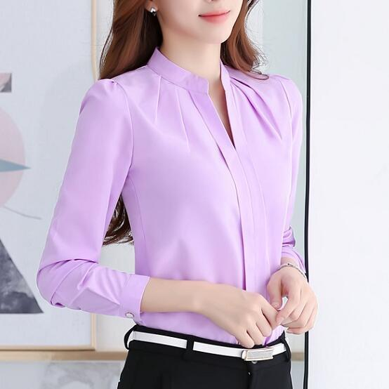 Spring Autumn Women Tops Long Sleeve Casual Chiffon Blouse Female V-Neck Work Wear Solid Color White-Blouses & Shirts-WYL VOGUE-Purple-S-EpicWorldStore.com