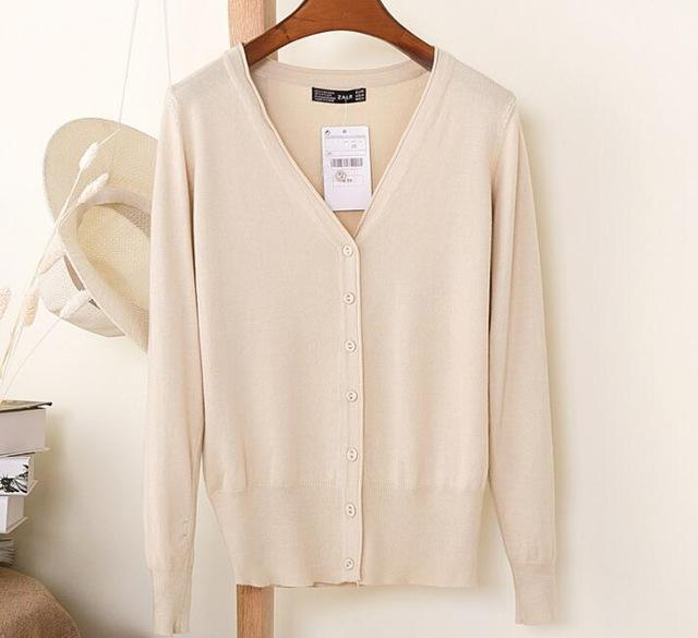 Spring Cardigan Women Korean V Neck Knitted Cardigan Feminino Ladies Long Sleeve Loose Buttons-Sweaters-Best-Buy Mall-apricot-S-EpicWorldStore.com