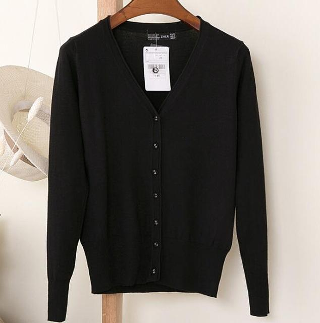 Spring Cardigan Women Korean V Neck Knitted Cardigan Feminino Ladies Long Sleeve Loose Buttons-Sweaters-Best-Buy Mall-BLACK-S-EpicWorldStore.com