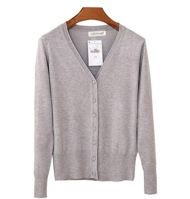 Spring Cardigan Women Korean V Neck Knitted Cardigan Feminino Ladies Long Sleeve Loose Buttons-Sweaters-Best-Buy Mall-light grey-S-EpicWorldStore.com