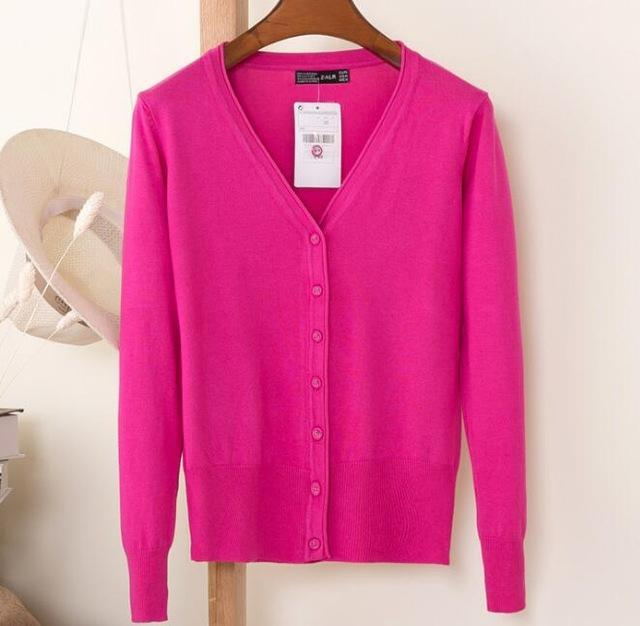 Spring Cardigan Women Korean V Neck Knitted Cardigan Feminino Ladies Long Sleeve Loose Buttons-Sweaters-Best-Buy Mall-rose red-S-EpicWorldStore.com