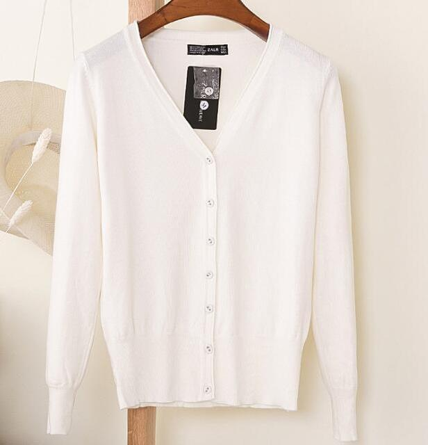 Spring Cardigan Women Korean V Neck Knitted Cardigan Feminino Ladies Long Sleeve Loose Buttons-Sweaters-Best-Buy Mall-white-S-EpicWorldStore.com