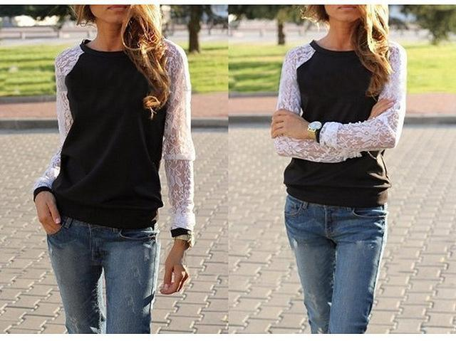 Spring Long Sleeve Lace Crochet Cotton Blouse Women Tunic Casual Patchwork Hoodies-Blouses & Shirts-Fashion & Elegant-Black-S-EpicWorldStore.com