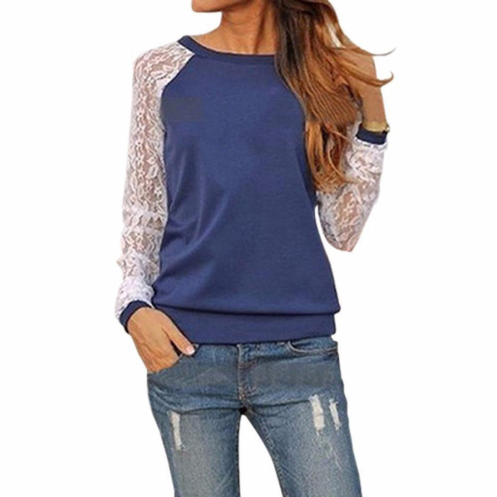 Spring Long Sleeve Lace Crochet Cotton Blouse Women Tunic Casual Patchwork Hoodies-Blouses & Shirts-Fashion & Elegant-Orange-S-EpicWorldStore.com
