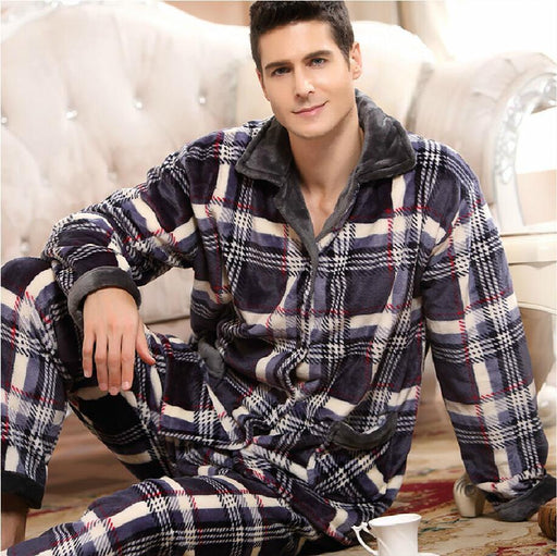 Spring Winter Thick Coral Fleece Men Pajamas Sets Of Sleep Tops & Bottoms Male Flannel Warm-Sleep & Lounge-Future Online Store-1-L-EpicWorldStore.com