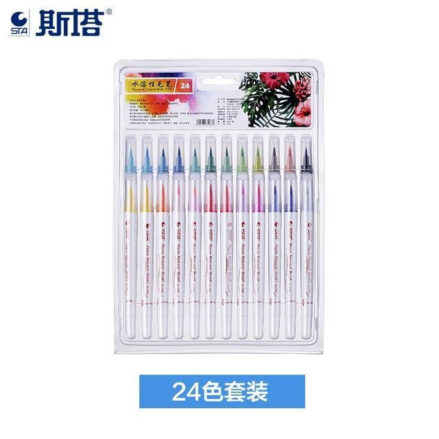 Sta 12/24/36Colors Painting Soft Brush Pen Set Watercolor Markers Pen  Effect Best For Coloring