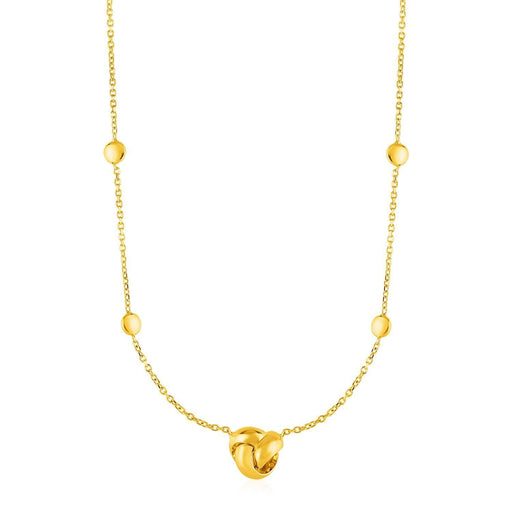 "Station Necklace With Love Knot And Round Beads In 14K Yellow Gold-Jewelry-EpicWorldStore.com-17""-EpicWorldStore.com"