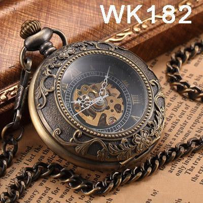 Steampunk Mechanical Pocket Watches Men Vintage Bronze Skeleton Transparent Retro Necklace Pocket-Pocket & Fob Watches-Fashional City Store-Wk182-EpicWorldStore.com