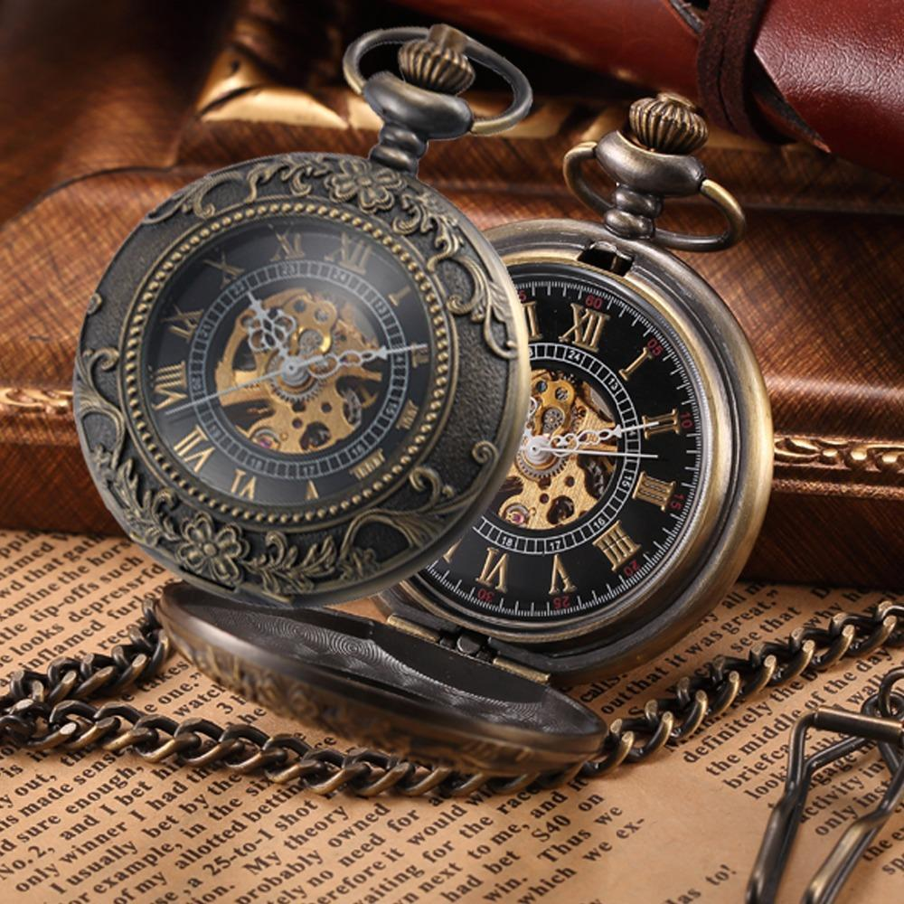 c8a1976d4 Steampunk Mechanical Pocket Watches Men Vintage Bronze Skeleton Transparent  Retro Necklace Pocket-Pocket & Fob