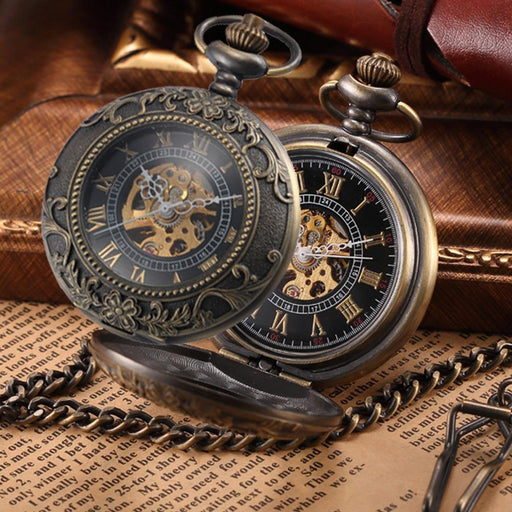 Steampunk Mechanical Pocket Watches Men Vintage Bronze Skeleton Transparent Retro Necklace Pocket-Pocket & Fob Watches-Fashional City Store-Wk183-EpicWorldStore.com