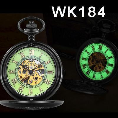 Steampunk Mechanical Pocket Watches Men Vintage Bronze Skeleton Transparent Retro Necklace Pocket-Pocket & Fob Watches-Fashional City Store-Wk184-EpicWorldStore.com