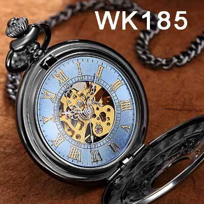 Steampunk Mechanical Pocket Watches Men Vintage Bronze Skeleton Transparent Retro Necklace Pocket-Pocket & Fob Watches-Fashional City Store-Wk185-EpicWorldStore.com