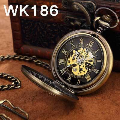 Steampunk Mechanical Pocket Watches Men Vintage Bronze Skeleton Transparent Retro Necklace Pocket-Pocket & Fob Watches-Fashional City Store-Wk186-EpicWorldStore.com