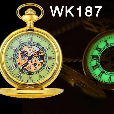 Steampunk Mechanical Pocket Watches Men Vintage Bronze Skeleton Transparent Retro Necklace Pocket-Pocket & Fob Watches-Fashional City Store-Wk187-EpicWorldStore.com