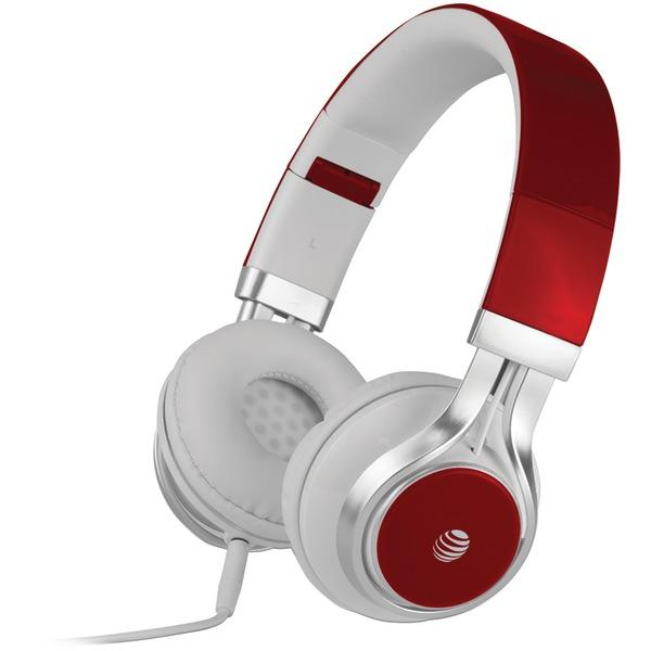 Stereo Over-Ear Headphones With Microphone (Red)-Portable & Personal Electronics-AT&T(R)-EpicWorldStore.com