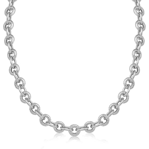 "Sterling Silver Round Cable Inspired Chain Link Necklace-Jewelry-EpicWorldStore.com-18""-EpicWorldStore.com"