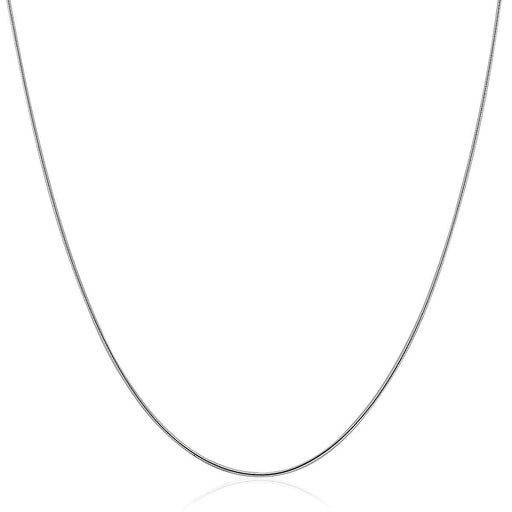 "Sterling Silver Round Omega Style Chain Necklace With Rhodium Plating (1.25Mm)-Jewelry-EpicWorldStore.com-16""-EpicWorldStore.com"