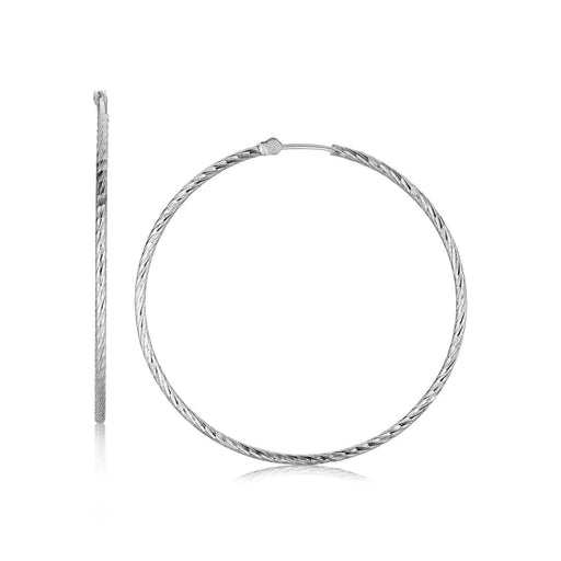 Sterling Silver Thin Diamond Cut Hoop Earrings With Rhodium Plating (45Mm)-Jewelry-EpicWorldStore.com-EpicWorldStore.com
