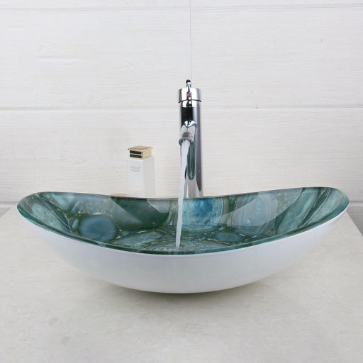 Stone Oval Tempered Glass Washroom Basin Vessel Vanity Sink Bathroom Basin Washbasin Chrome Polished-Bathroom Sinks-YANKSMART Monite Store-EpicWorldStore.com