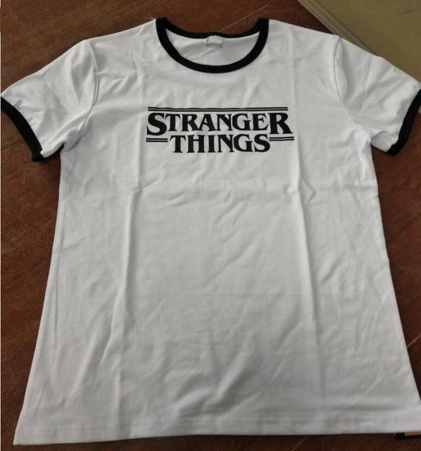 75d41800 Stranger Things Ringer Tee Hipster Shirts Tumblr Graphic T-Shirt Women Men  Letter Print T