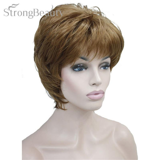 Strong Beauty Female Wigs Synthetic Short Body Wave Blonde Silver Brown Wig For Black Women-kerry ji's store-#27-EpicWorldStore.com