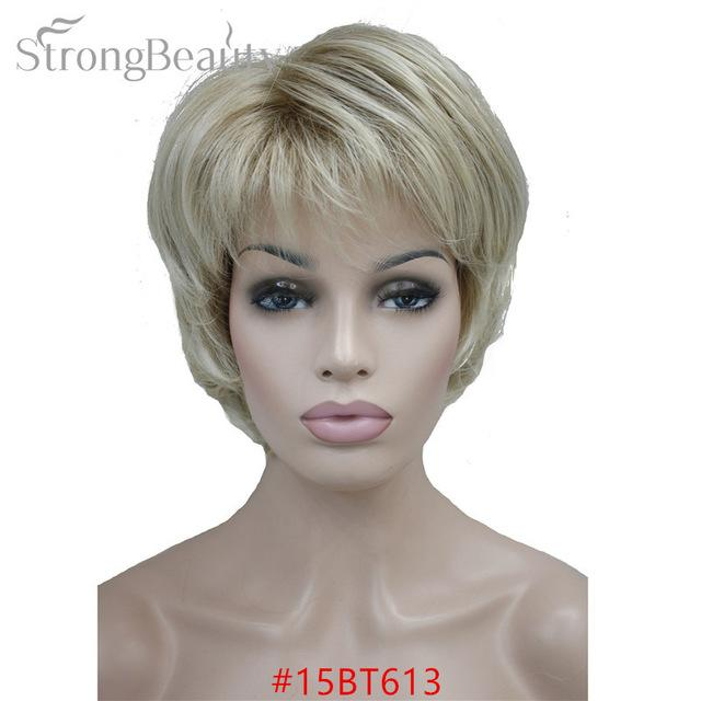 Strong Beauty Female Wigs Synthetic Short Body Wave Blonde Silver